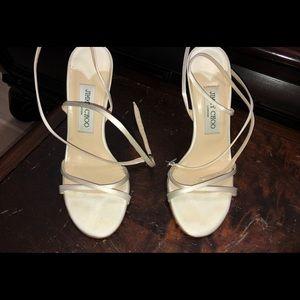 Jimmy Choo satin heels US 7 in Ivory color